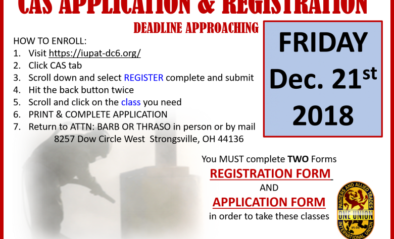 CAS Application and Registration deadline approaching